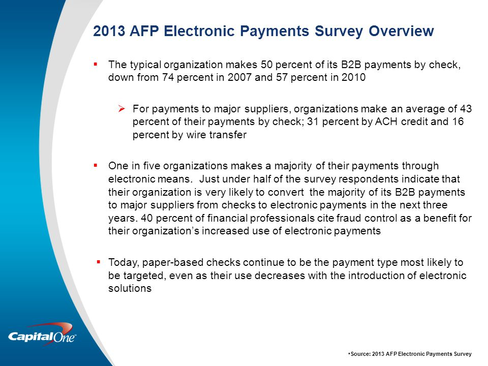 2013 AFP Electronic Payments Survey Overview