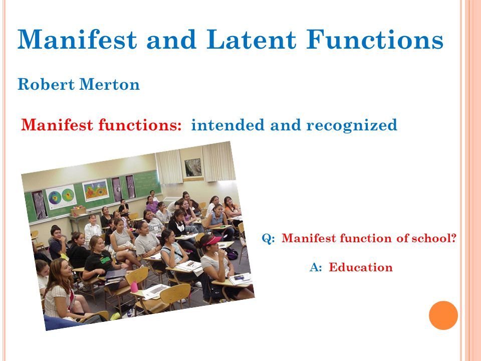 examples of latent functions of education