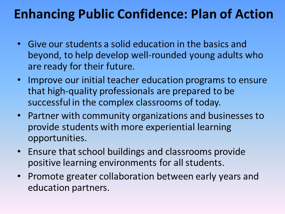 Enhancing Public Confidence: Plan of Action
