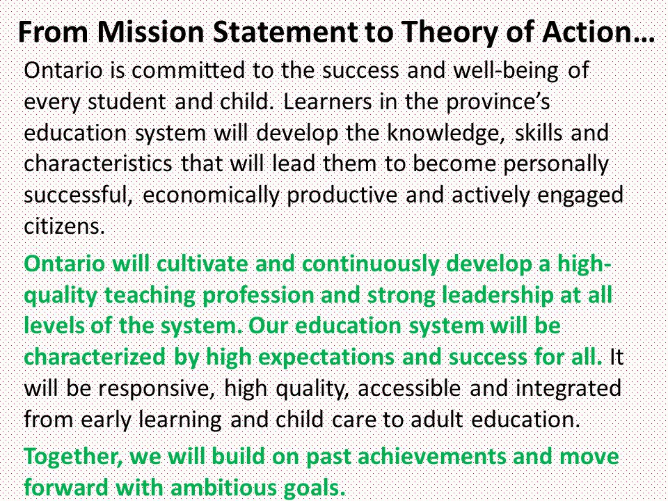 From Mission Statement to Theory of Action…