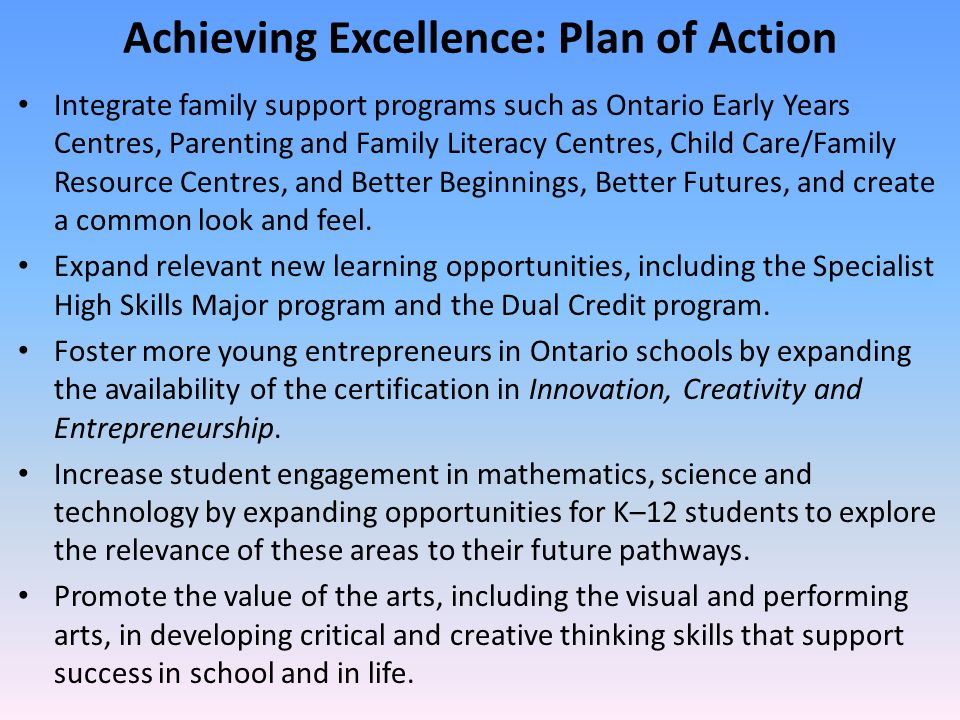 Achieving Excellence: Plan of Action