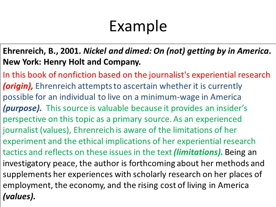 Example Ehrenreich, B., Nickel and dimed: On (not) getting by in America. New York: Henry Holt and Company.