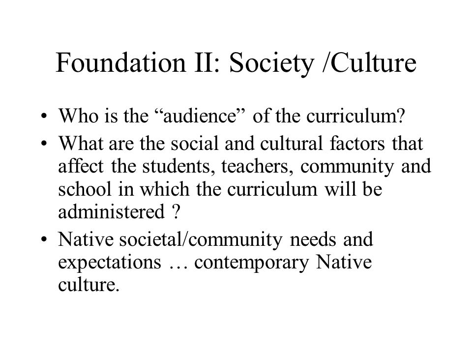 Foundation II: Society /Culture