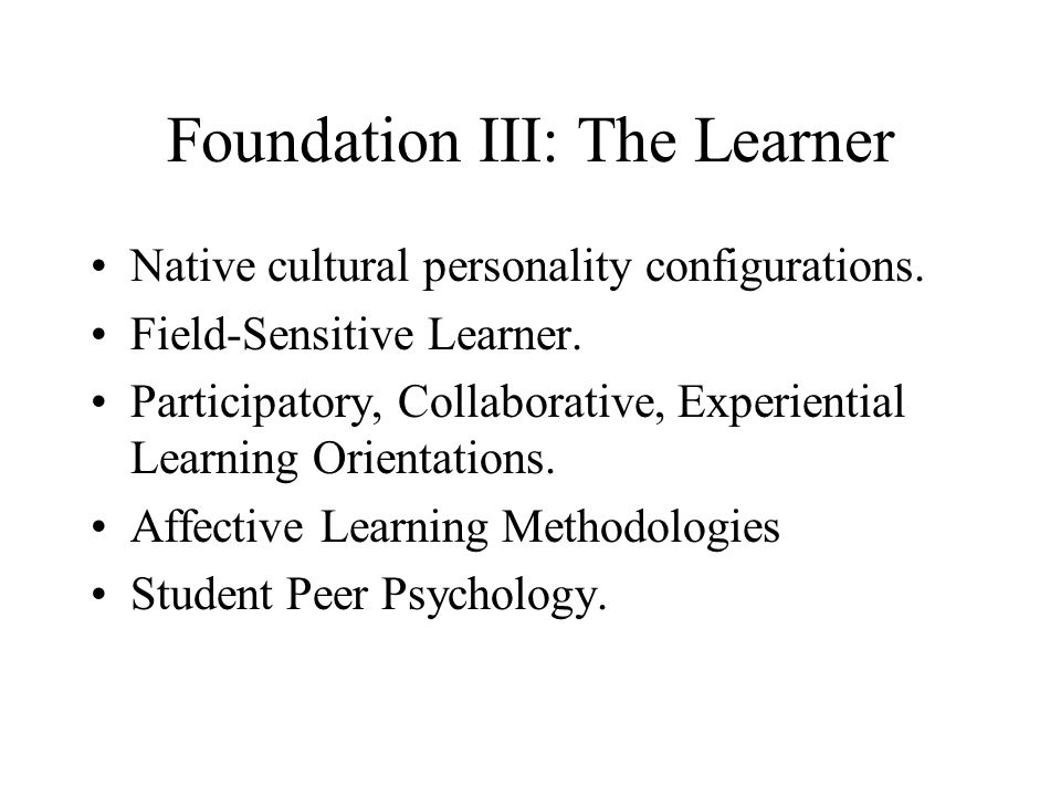 Foundation III: The Learner