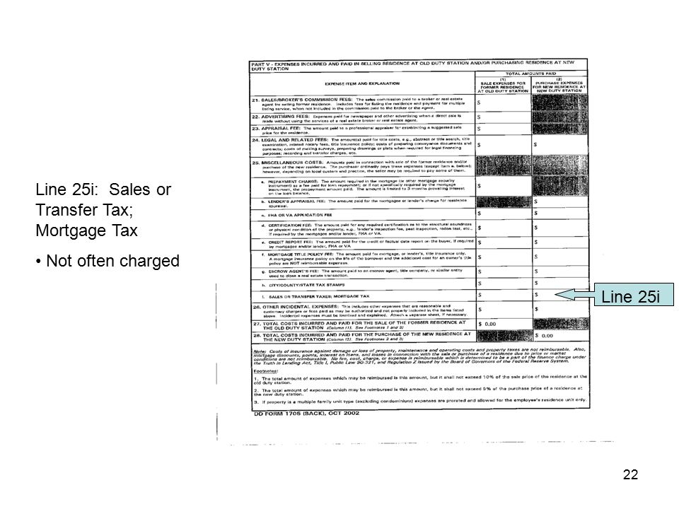Line 25i: Sales or Transfer Tax; Mortgage Tax