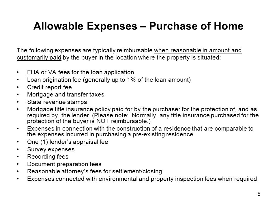 Allowable Expenses – Purchase of Home
