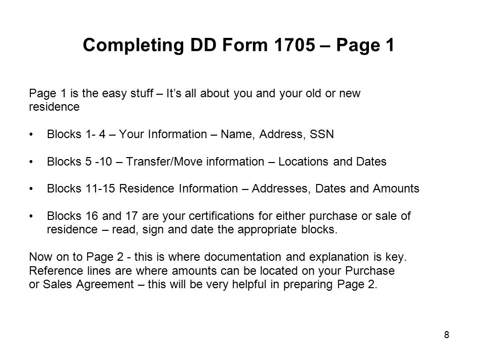 Completing DD Form 1705 – Page 1