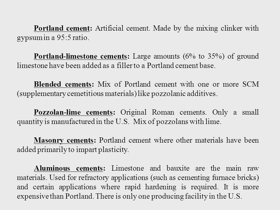 Portland cement: Artificial cement
