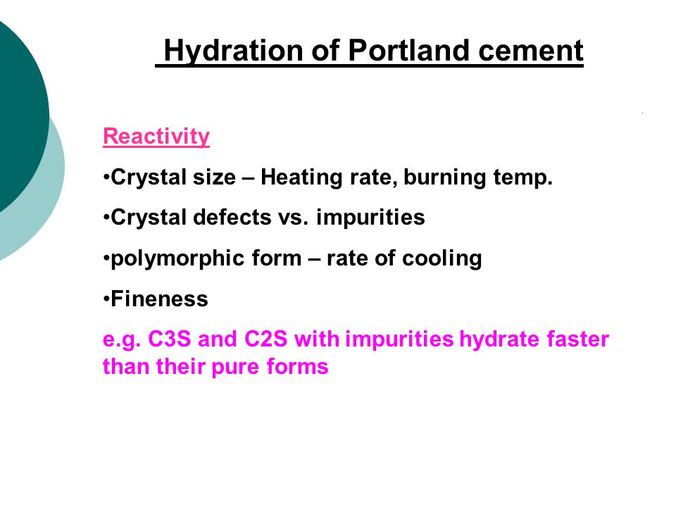 Hydration of Portland cement