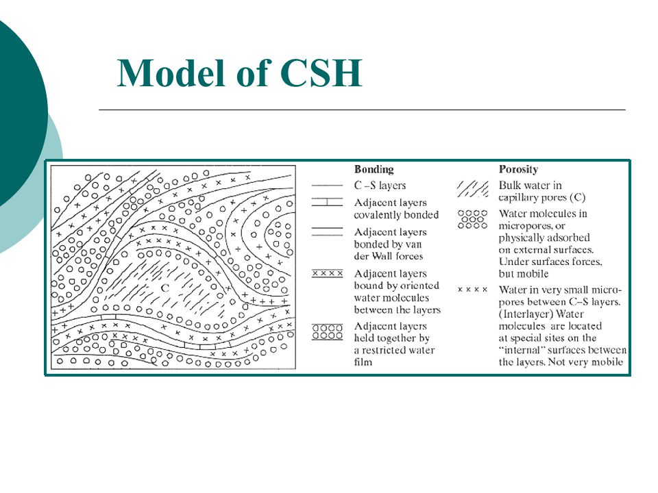 Model of CSH CSH is extremely finely divided Exact form is unknown