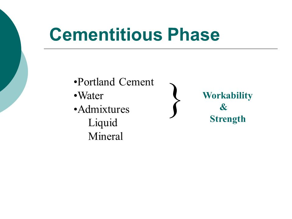 } Cementitious Phase Portland Cement Water Admixtures Liquid Mineral