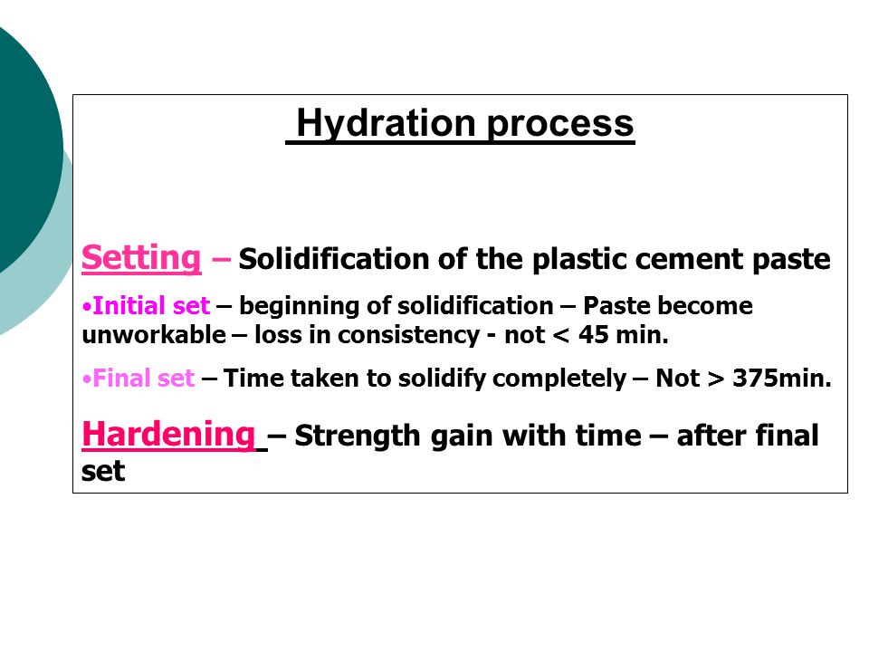 Hydration process Setting – Solidification of the plastic cement paste