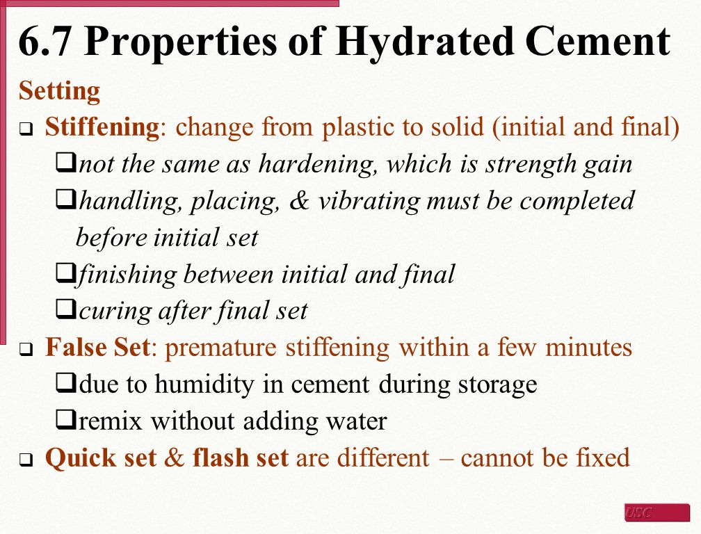 6.7 Properties of Hydrated Cement