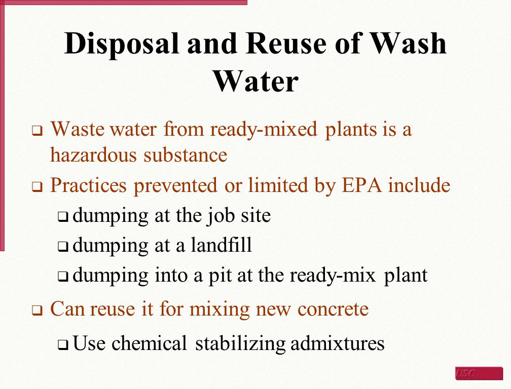 Disposal and Reuse of Wash Water