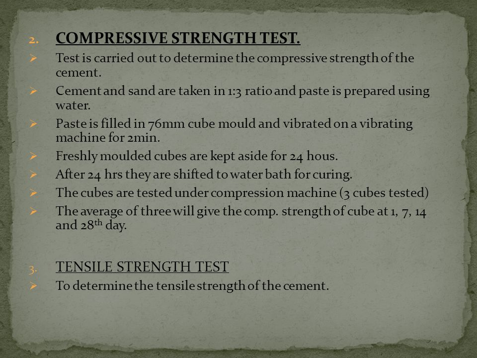 COMPRESSIVE STRENGTH TEST.