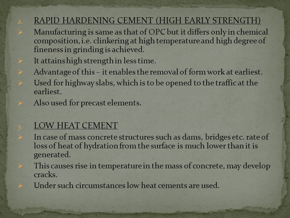 RAPID HARDENING CEMENT (HIGH EARLY STRENGTH)