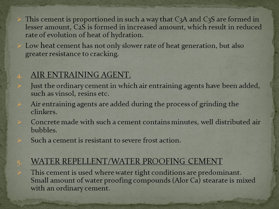 WATER REPELLENT/WATER PROOFING CEMENT