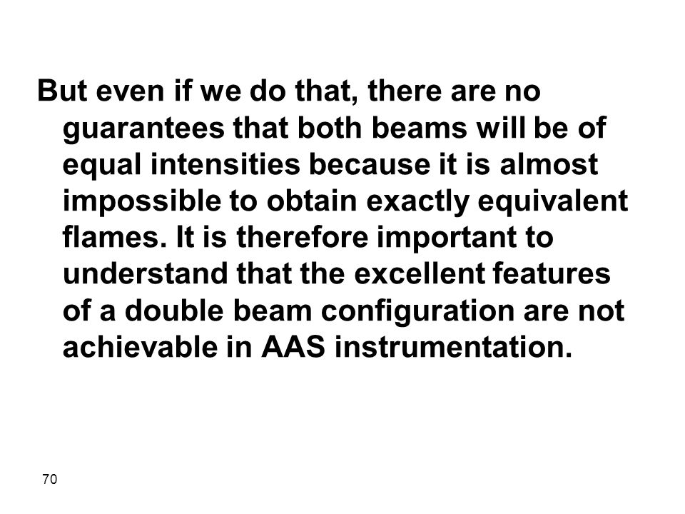 But even if we do that, there are no guarantees that both beams will be of equal intensities because it is almost impossible to obtain exactly equivalent flames.