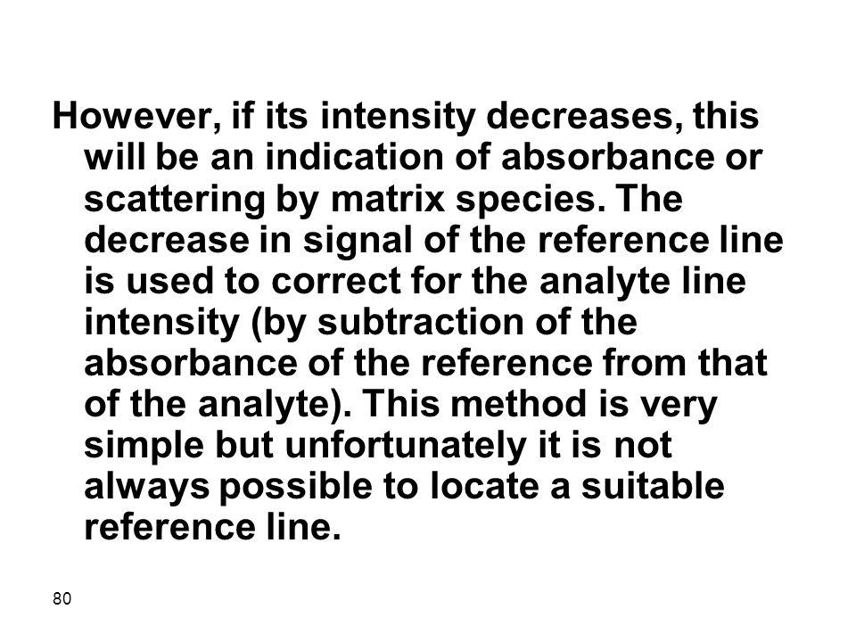 However, if its intensity decreases, this will be an indication of absorbance or scattering by matrix species.