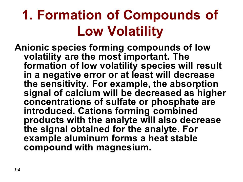 1. Formation of Compounds of Low Volatility