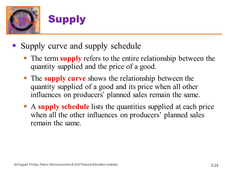 Supply Supply curve and supply schedule