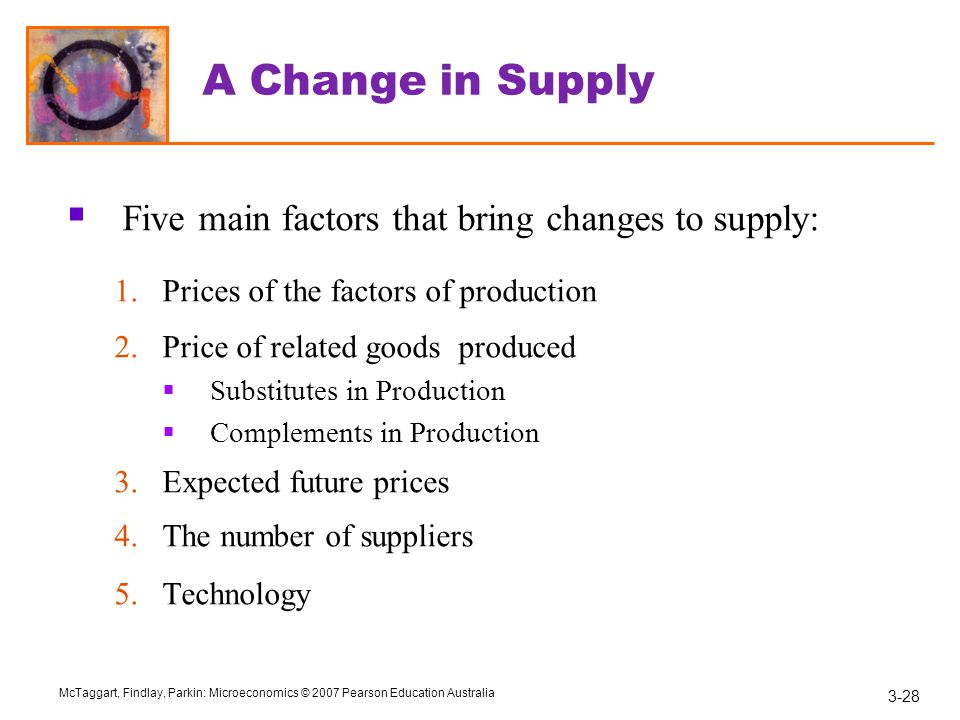 A Change in Supply Five main factors that bring changes to supply: