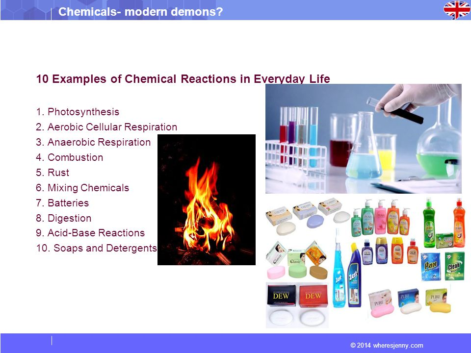Chemical reactions in daily life examples.