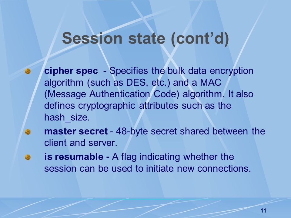 Session state (cont'd)