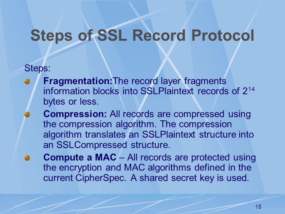 Steps of SSL Record Protocol