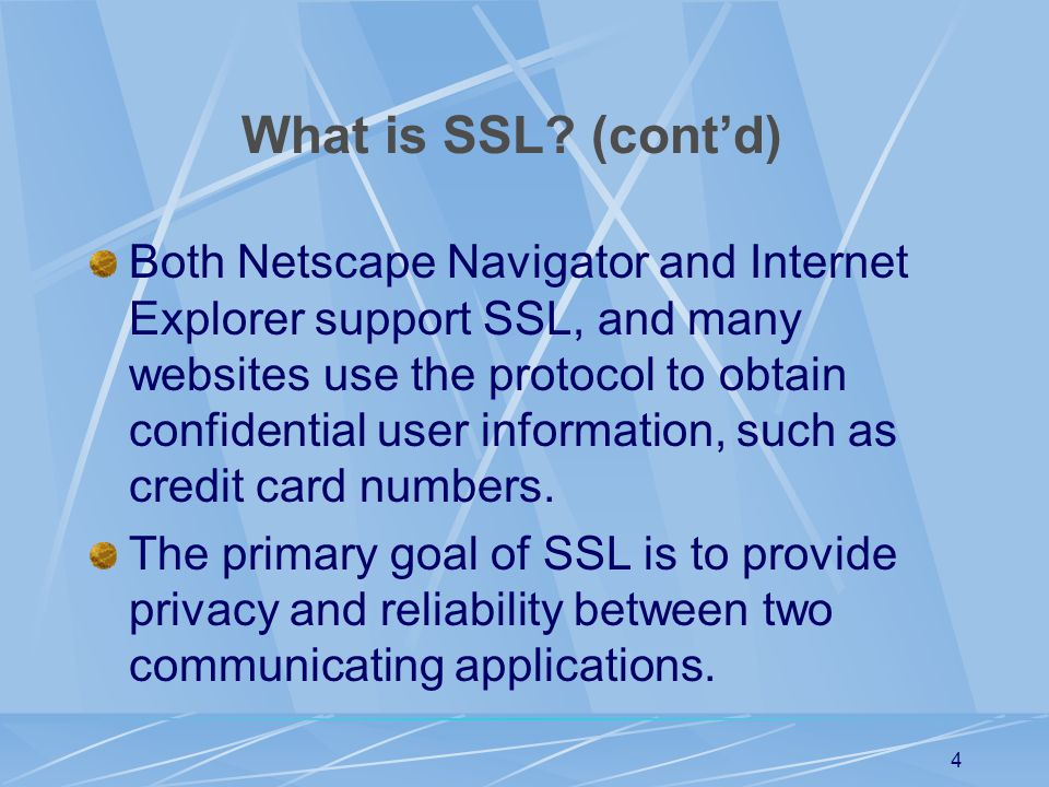 What is SSL (cont'd)