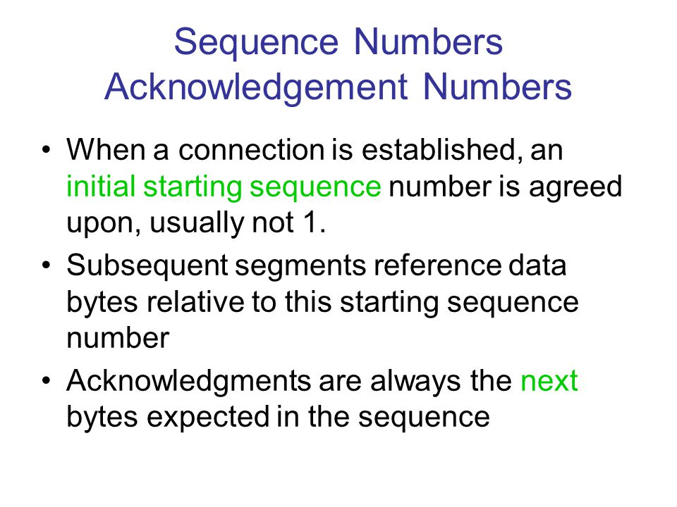 Sequence Numbers Acknowledgement Numbers