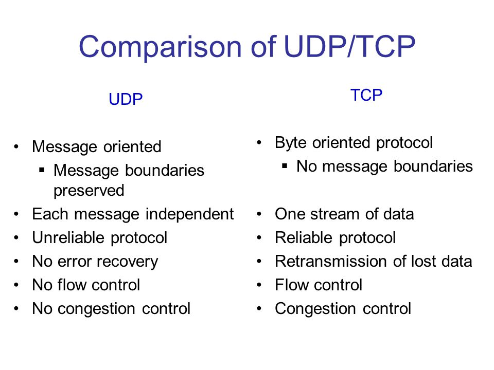 Comparison of UDP/TCP TCP UDP Byte oriented protocol Message oriented
