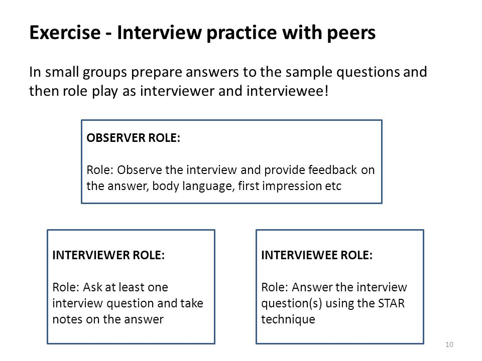 Exercise - Interview practice with peers