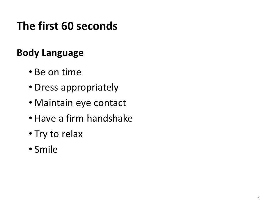 The first 60 seconds Body Language