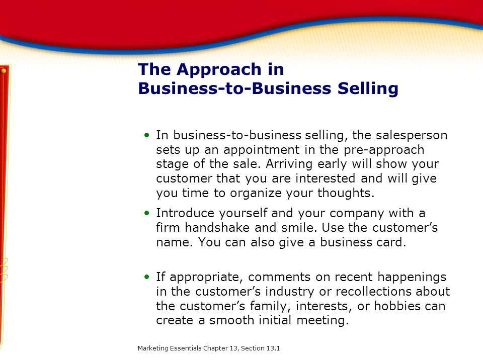 The Approach in Business-to-Business Selling