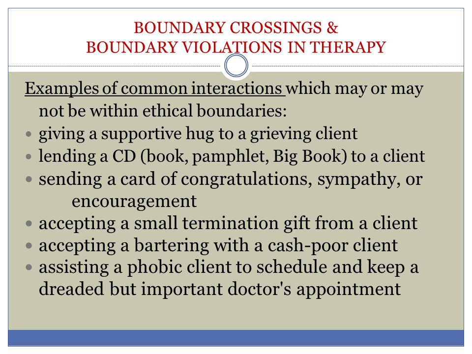 Types and examples of sexual boundary violations. | download table.