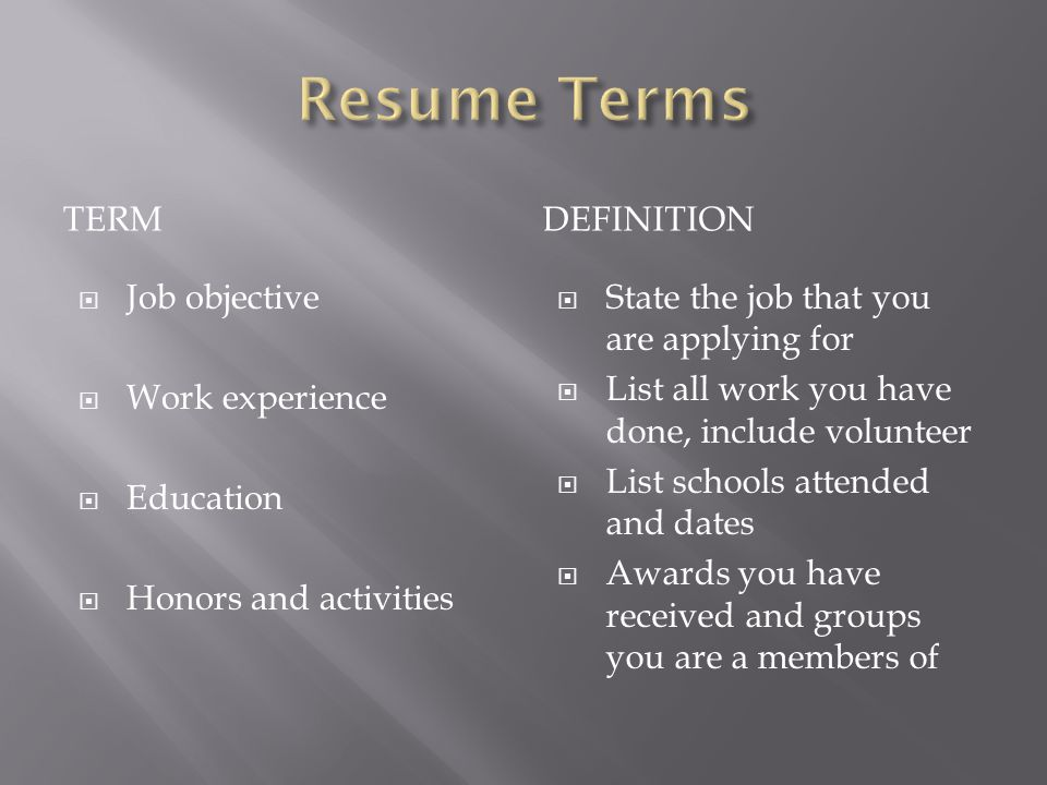 Resume Terms term definition Job objective Work experience Education