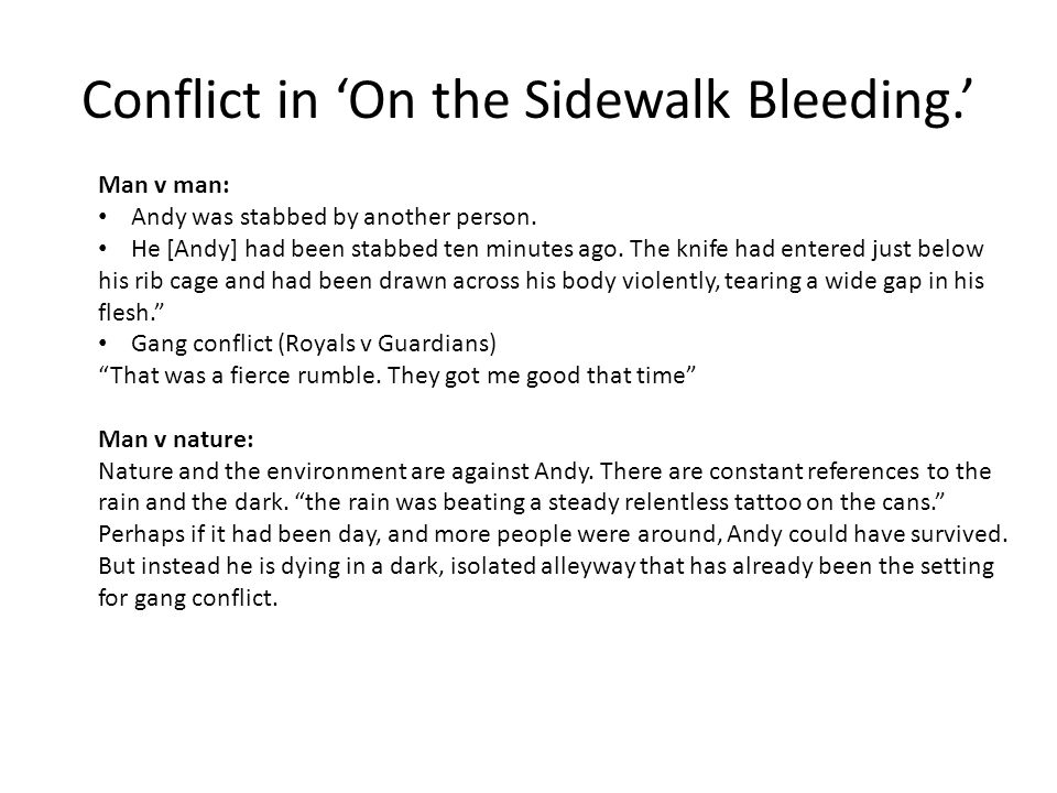 On The Sidewalk Bleeding Ppt Download