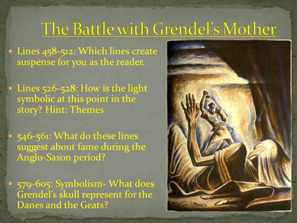 essay on beowulf and grendel point of view The beowulf-poet manipulates a small repertory off linguistic devices, especially motion and perception verbs, to establish distinct points of view from which we view.