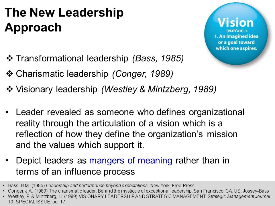 Charismatic leadership and the new leadership
