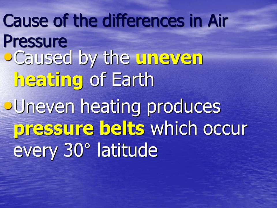 Cause of the differences in Air Pressure