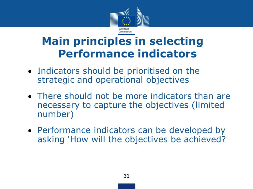 Main principles in selecting Performance indicators