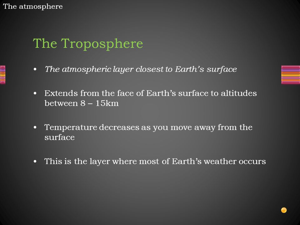 The Troposphere The atmospheric layer closest to Earth's surface