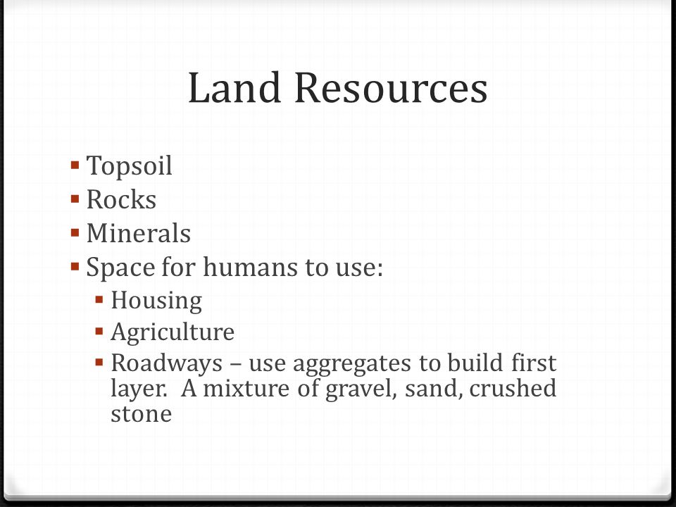 Land Resources Topsoil Rocks Minerals Space for humans to use: Housing