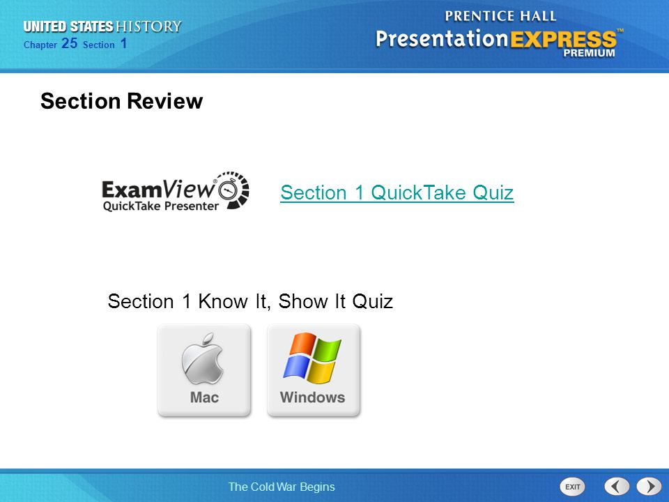 Section Review Section 1 QuickTake Quiz