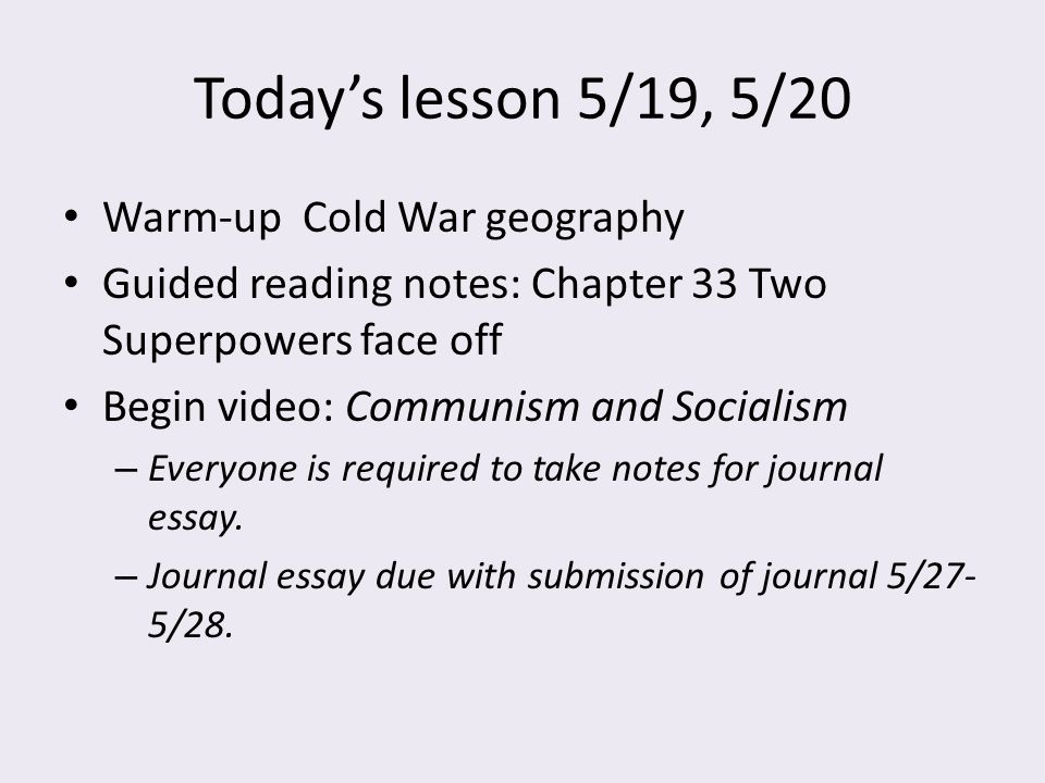 world history journal sixth six weeks ppt download rh slideplayer com 17.1 guided reading two superpowers face off Summer Reading Kick Off