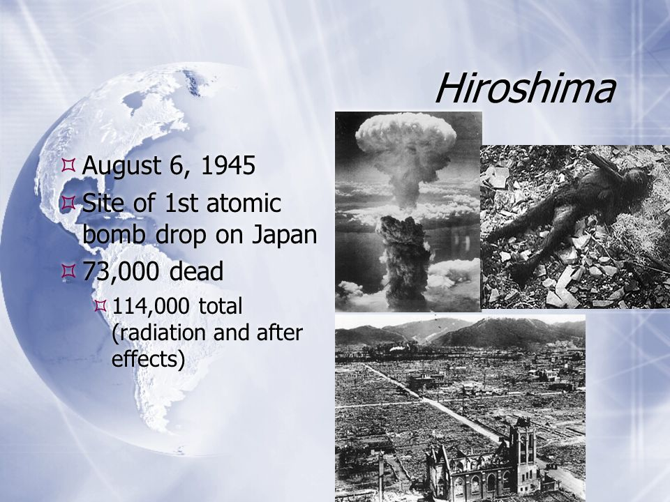 Hiroshima August 6, 1945 Site of 1st atomic bomb drop on Japan