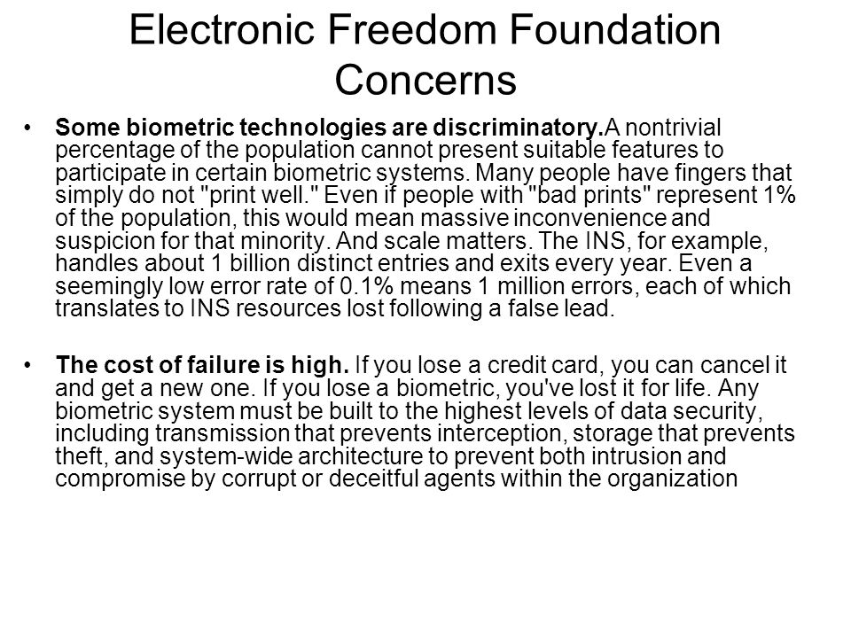 Electronic Freedom Foundation Concerns