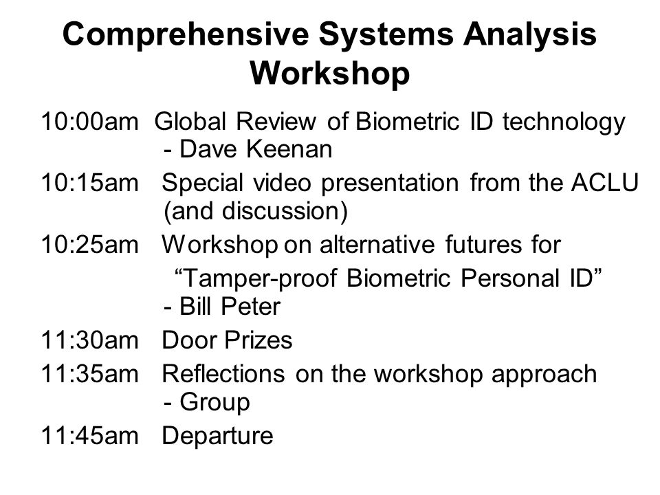 Comprehensive Systems Analysis Workshop