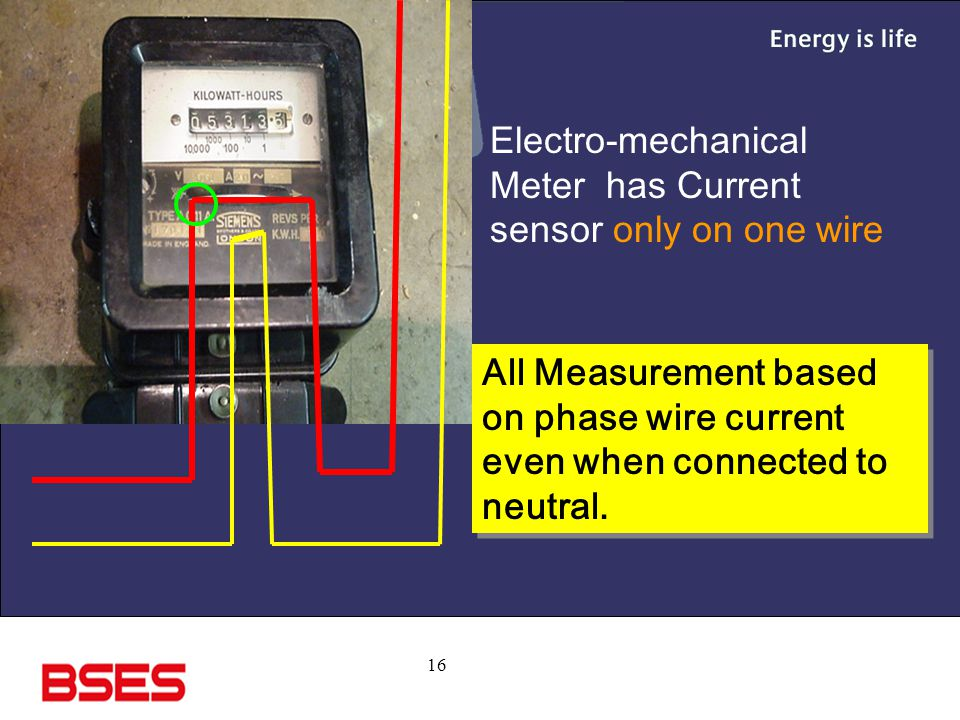 Electro-mechanical Meter has Current sensor only on one wire